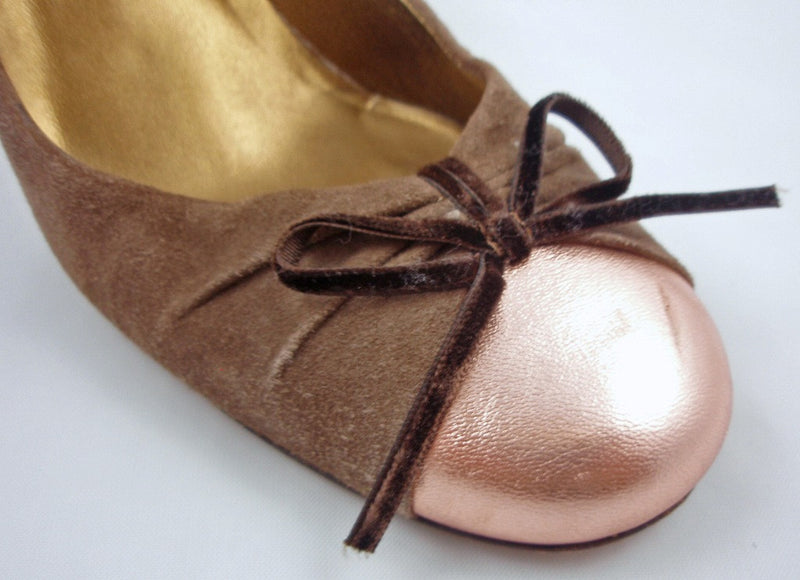 Vera Wang Brown Suede + Rose Gold Pumps / Sz 39-Style Therapy