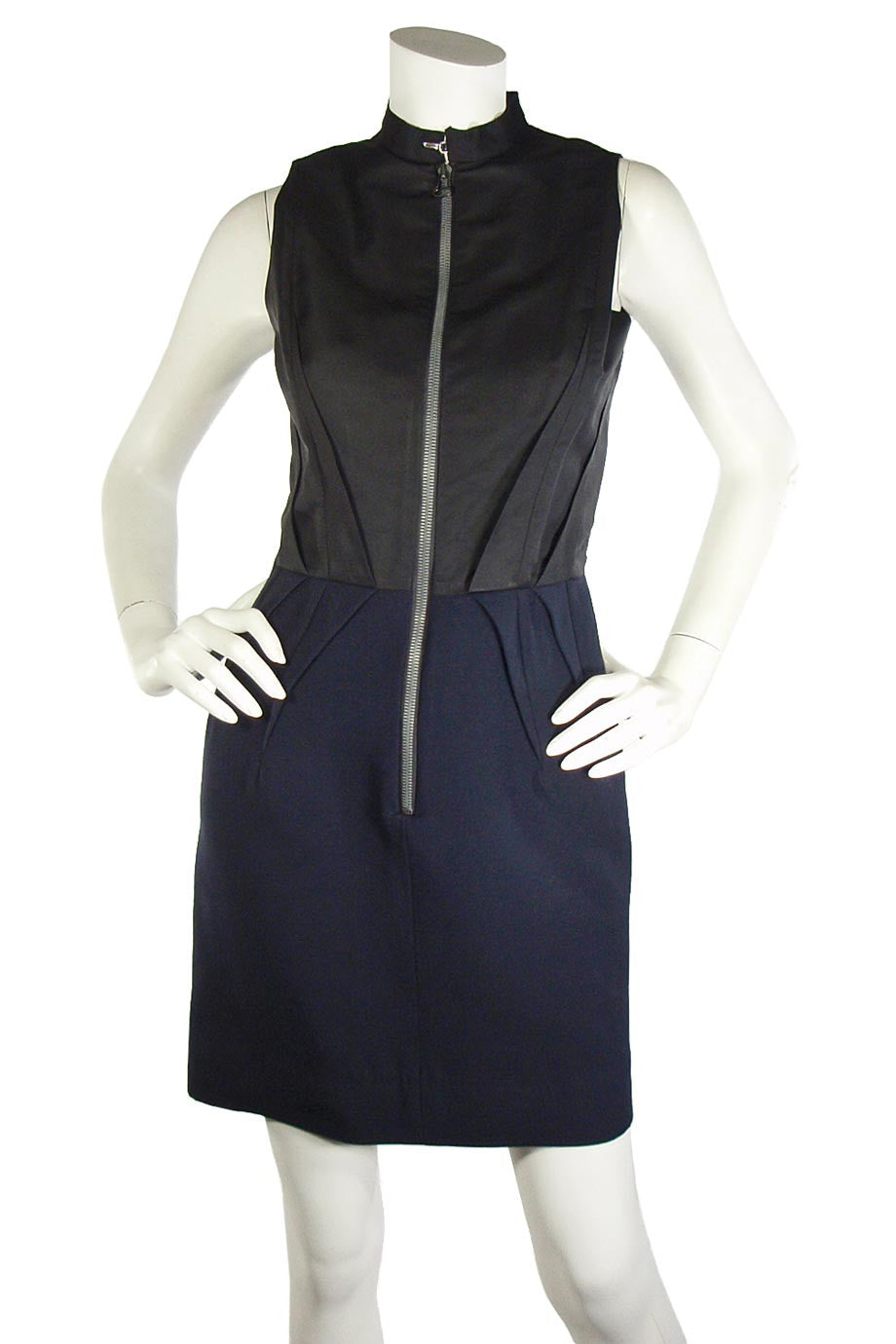 Lanvin Black + Navy Wool Sleeveless Sheath Dress / Sz 2 - Style Therapy  - 1