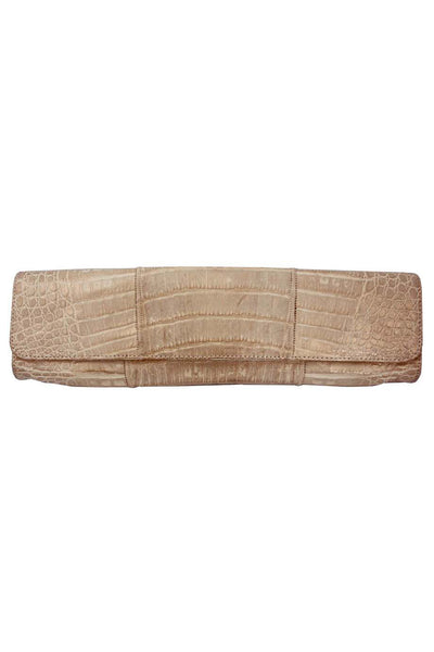 Carlos Falchi Metallic Gold Alligator Clutch Bag - Style Therapy  - 1