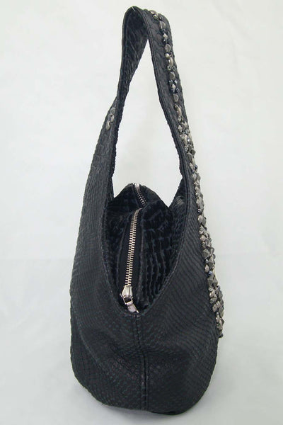 Simone Camille Studded Black Snakeskin Mini Bucket Bag - Style Therapy  - 3