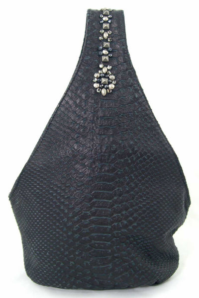 Simone Camille Studded Black Snakeskin Mini Bucket Bag - Style Therapy  - 4