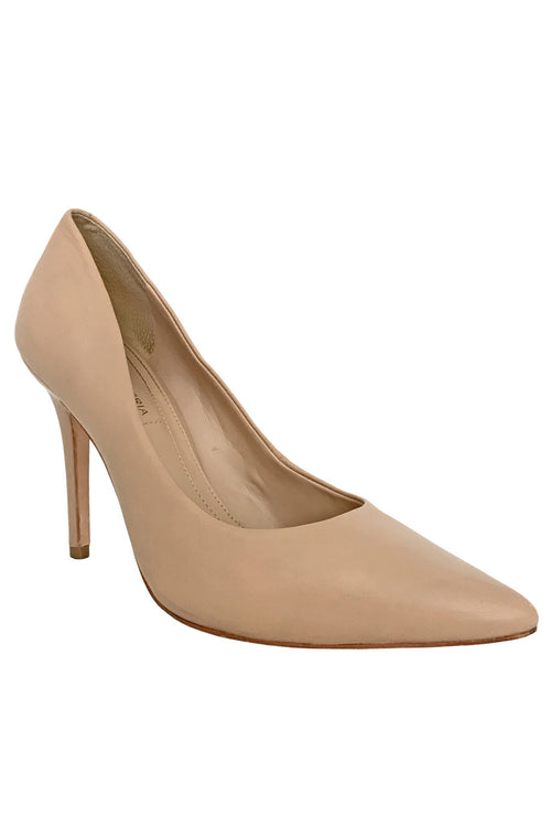 BCBG Max Azria Nude Leather Opia Pointed Toe Pumps / Sz 8B - Style Therapy  - 1