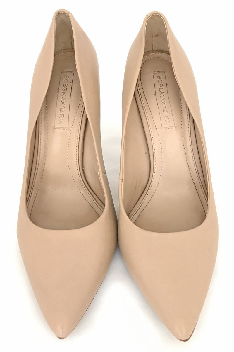 BCBG Max Azria Nude Leather Opia Pointed Toe Pumps / Sz 8B - Style Therapy  - 3