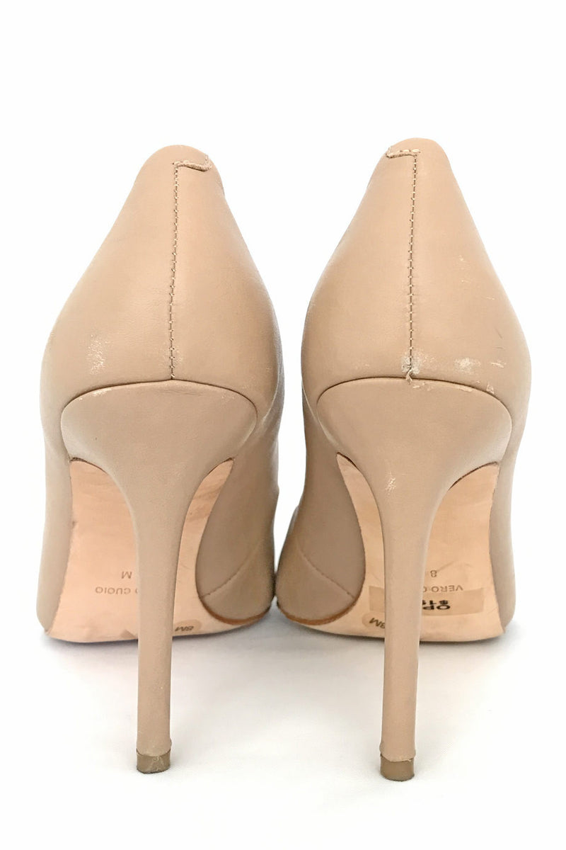 BCBG Max Azria Nude Leather Opia Pointed Toe Pumps / Sz 8B - Style Therapy  - 5