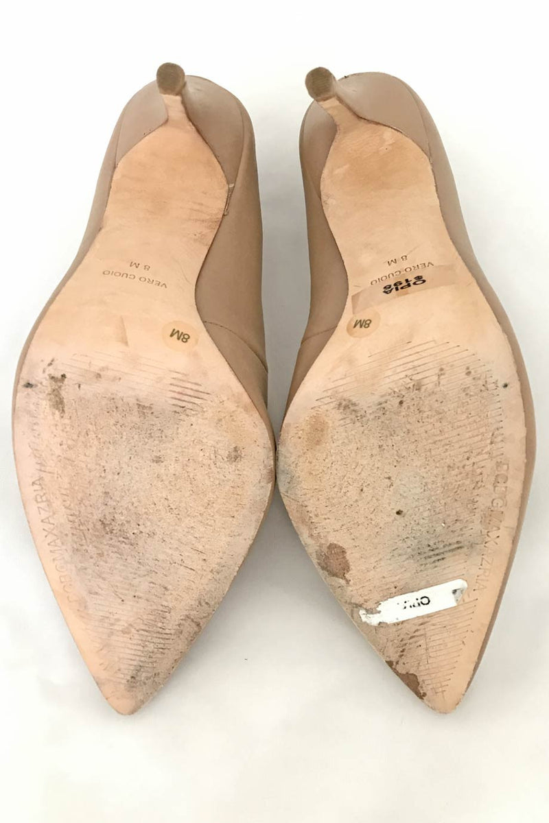 BCBG Max Azria Nude Leather Opia Pointed Toe Pumps / Sz 8B - Style Therapy  - 6