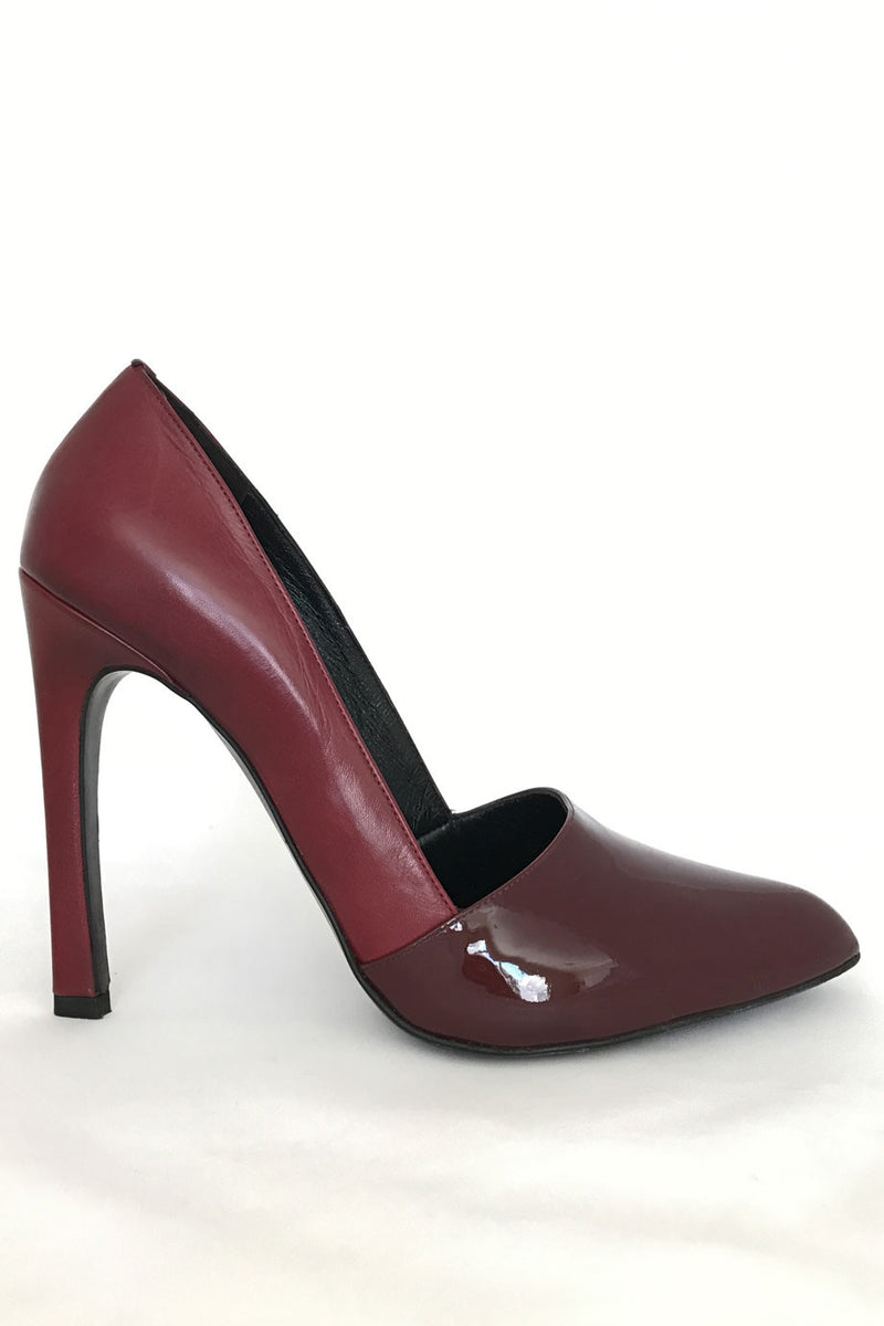 Jil Sander Dark Red Leather + Patent High Heel Pumps / Sz 39.5B - Style Therapy  - 2