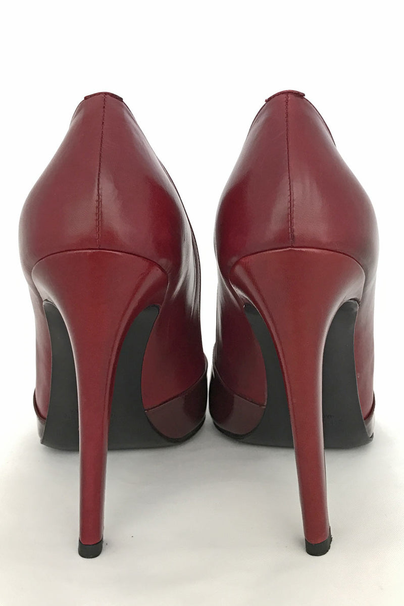 Jil Sander Dark Red Leather + Patent High Heel Pumps / Sz 39.5B - Style Therapy  - 4