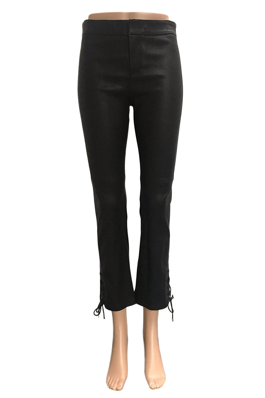 Hellessy Black Stretch Leather Cropped Pants + Lace-Up Details / Sz 4-Style Therapy