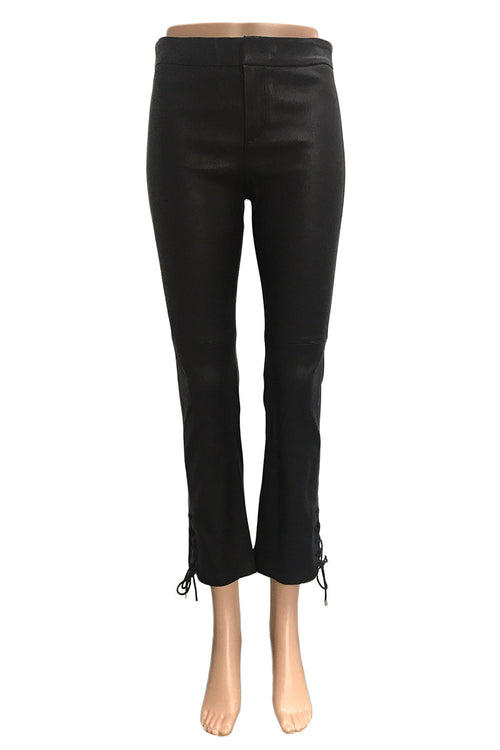 Hellessy Black Stretch Leather Cropped Pants + Lace-Up Details / Sz 4
