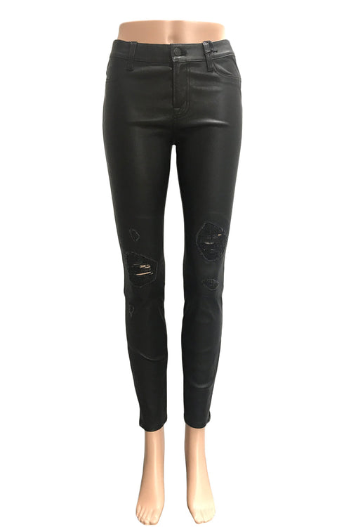 J Brand Destroyed Black Stretch Leather Super Skinny Jeans / Sz 27