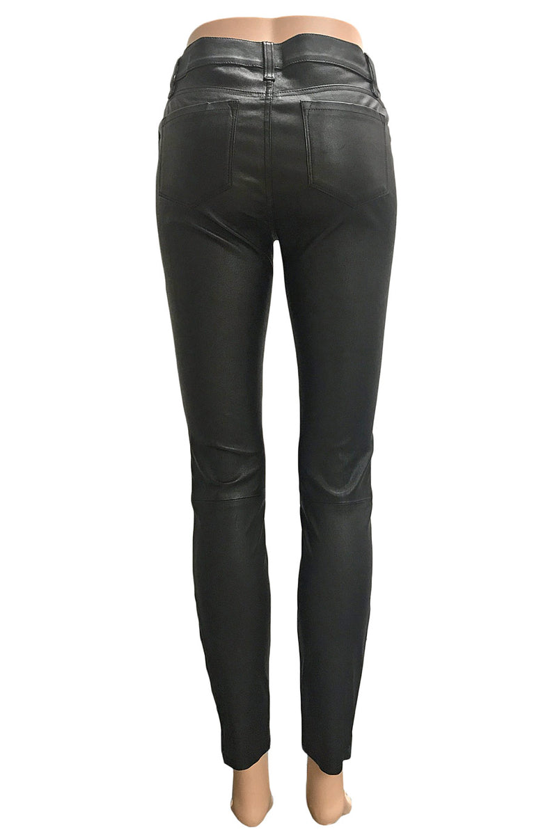 J Brand Destroyed Black Stretch Leather Super Skinny Jeans / Sz 27-Style Therapy