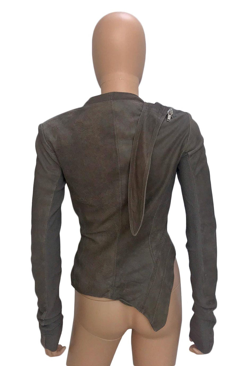 Rick Owens Dust Distressed Leather Asymmetric Moto Jacket / Sz 40-Style Therapy