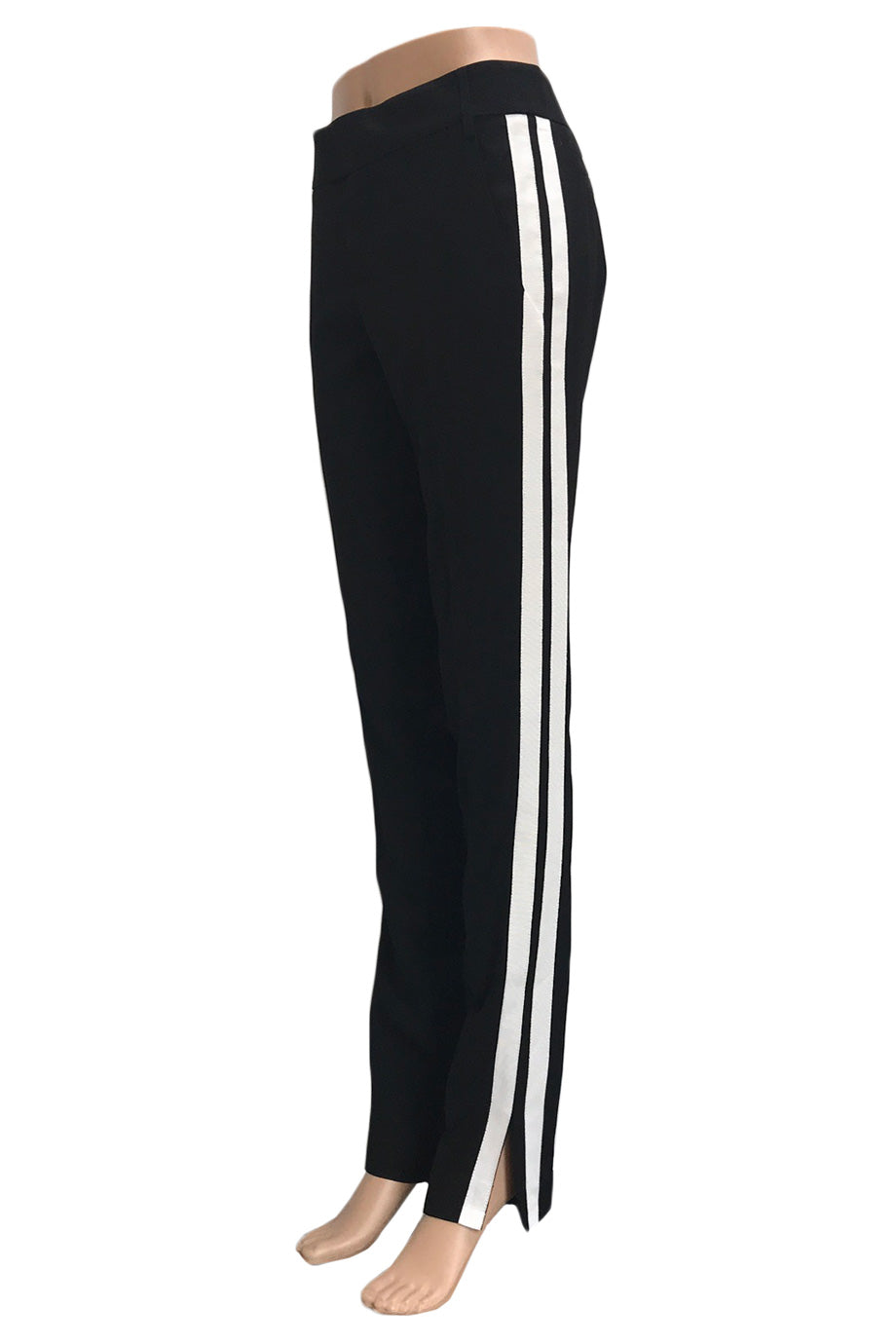 Smythe Black Straight Leg Pants + White Racing Stripes / Sz 4-Style Therapy