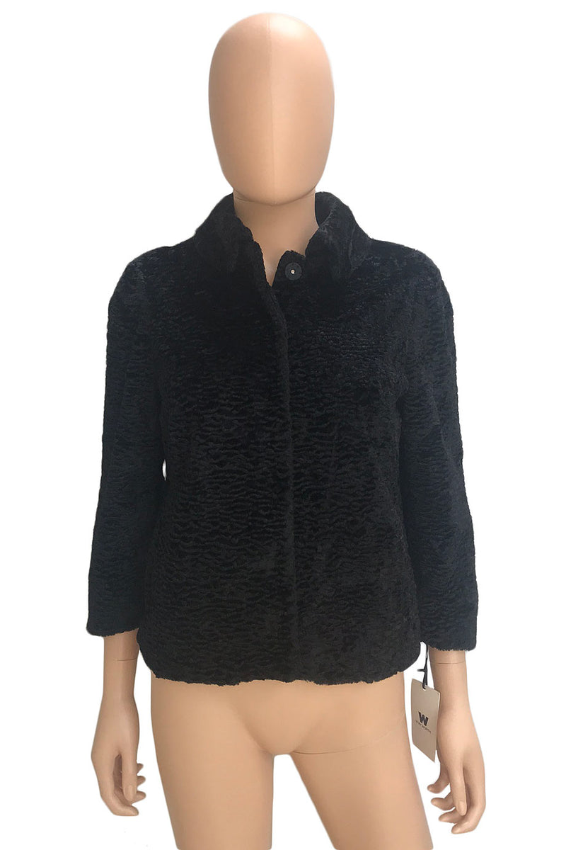 W by Worth Black Persian Lamb Faux Fur 3/4 Sleeve Jacket / Sz XP-Style Therapy