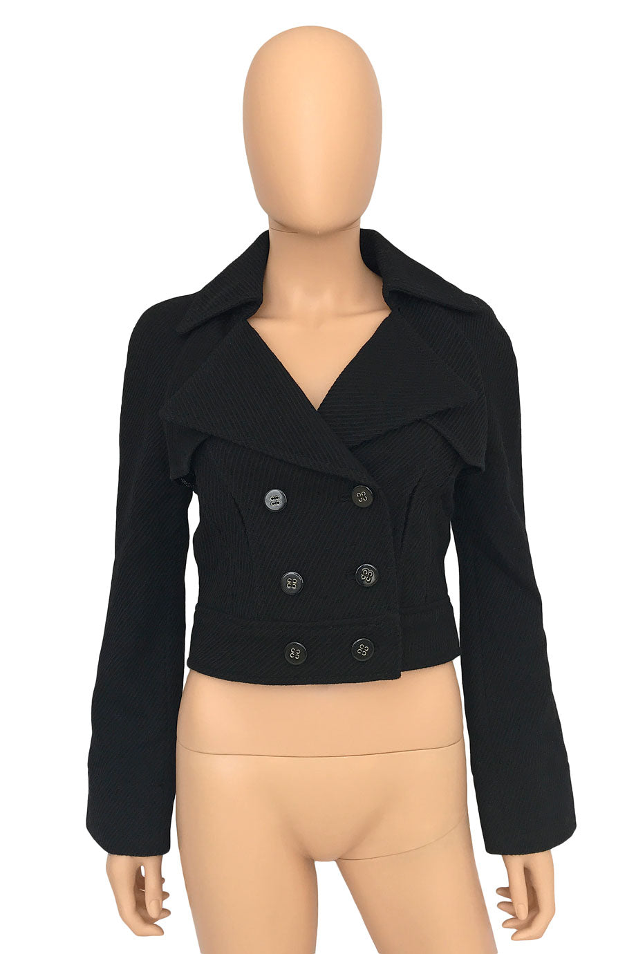 Catherine Malandrino Black Wool Double Breasted Jacket / Sz 2-Style Therapy