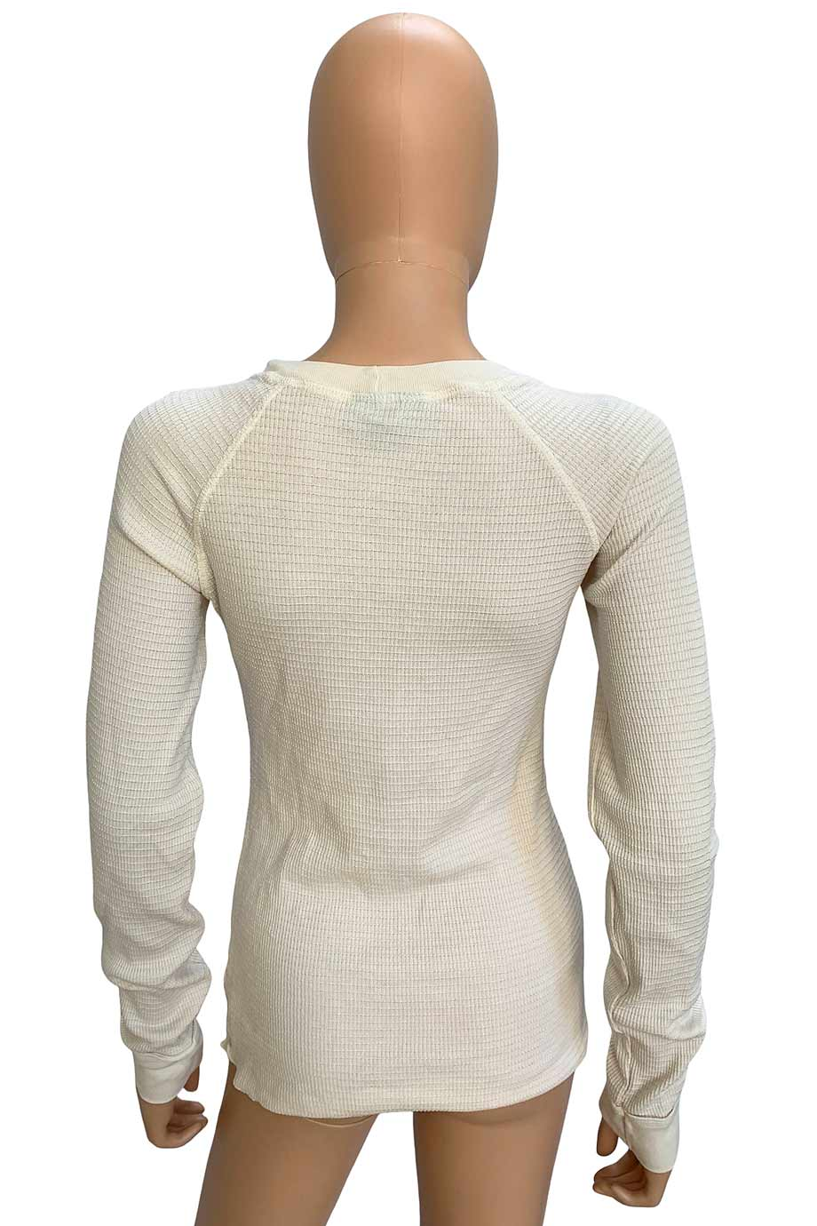 Athleta Ivory Tonal Stripe Rib Knit + Crest Print Long Sleeve Top / Sz M
