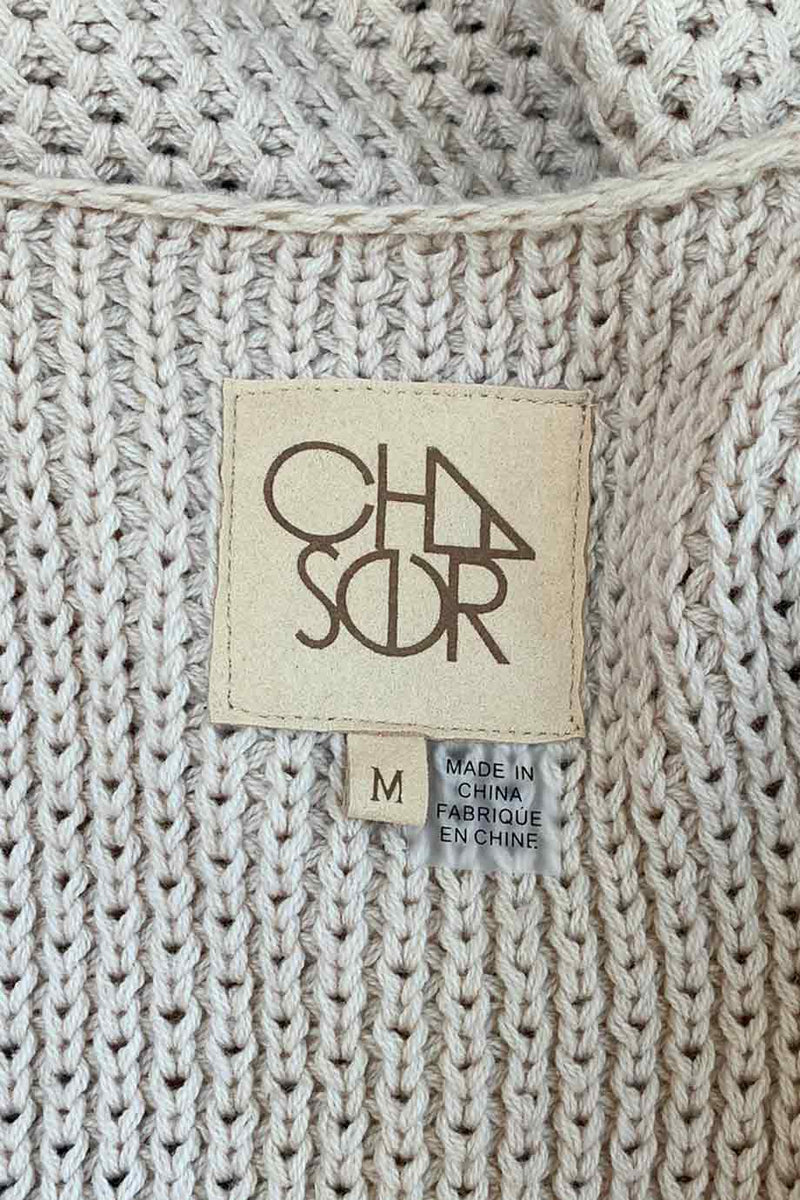Chaser Natural Beige + Black Stripe Open-Front Duster Sweater / Sz M