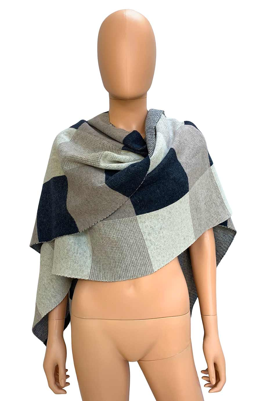 Lululemon Gray + Beige Check Merino Wool Bundle Up Wrap Scarf