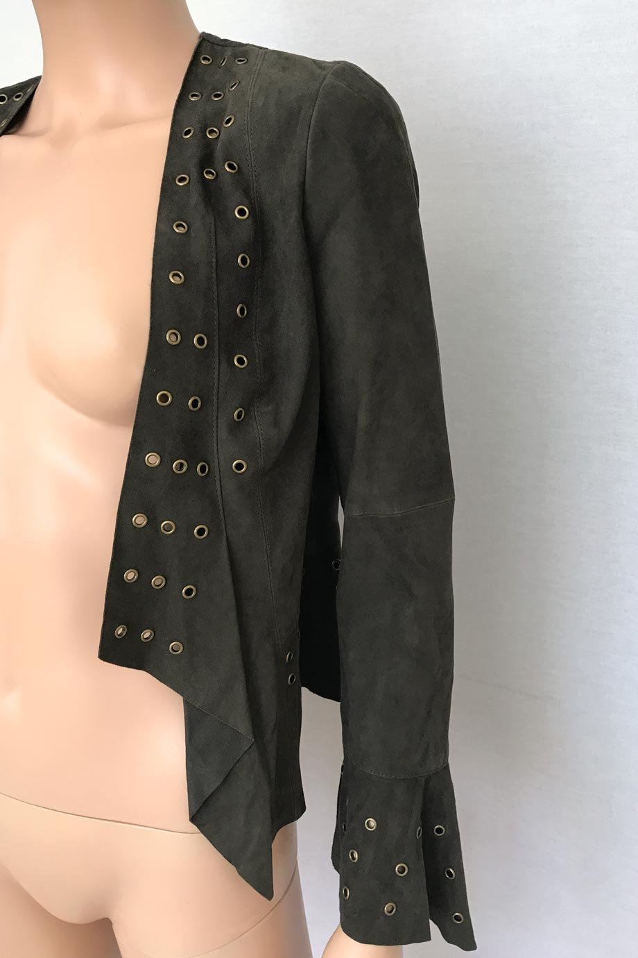 W by Worth Olive-Brown Suede Jacket with Brass Grommets / Sz 2-Style Therapy