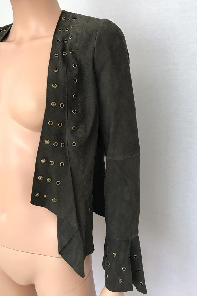 W by Worth Olive-Brown Suede Jacket with Brass Grommets / Sz 2