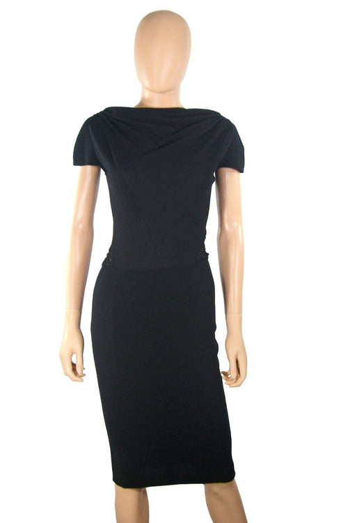Alessandro dell'Acqua Black Knit + Lace Panel Dress / Sz 40 - Style Therapy  - 1