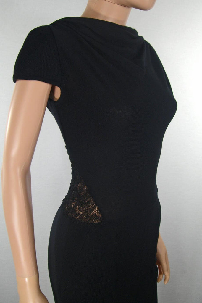 Alessandro dell'Acqua Black Knit + Lace Panel Dress / Sz 40 - Style Therapy  - 2