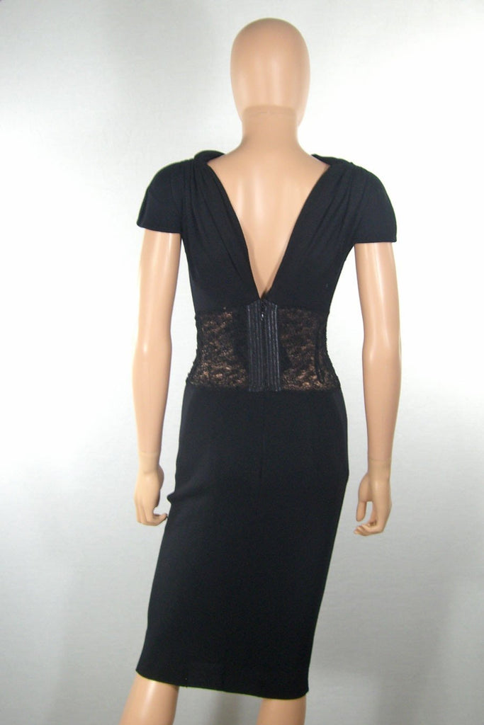 Alessandro dell'Acqua Black Knit + Lace Panel Dress / Sz 40 - Style Therapy  - 4