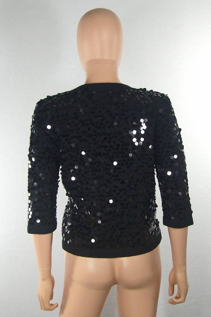 Corey Lynn Calter Black Paillette Sequin Cardigan Sweater / Sz L - Style Therapy  - 3