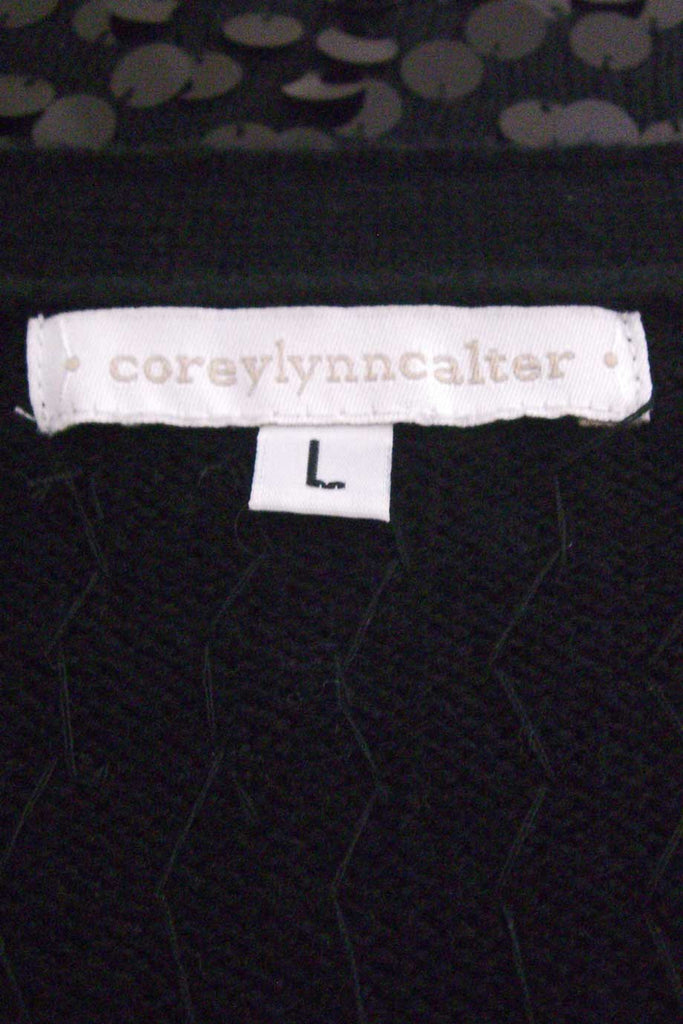 Corey Lynn Calter Black Paillette Sequin Cardigan Sweater / Sz L - Style Therapy  - 4