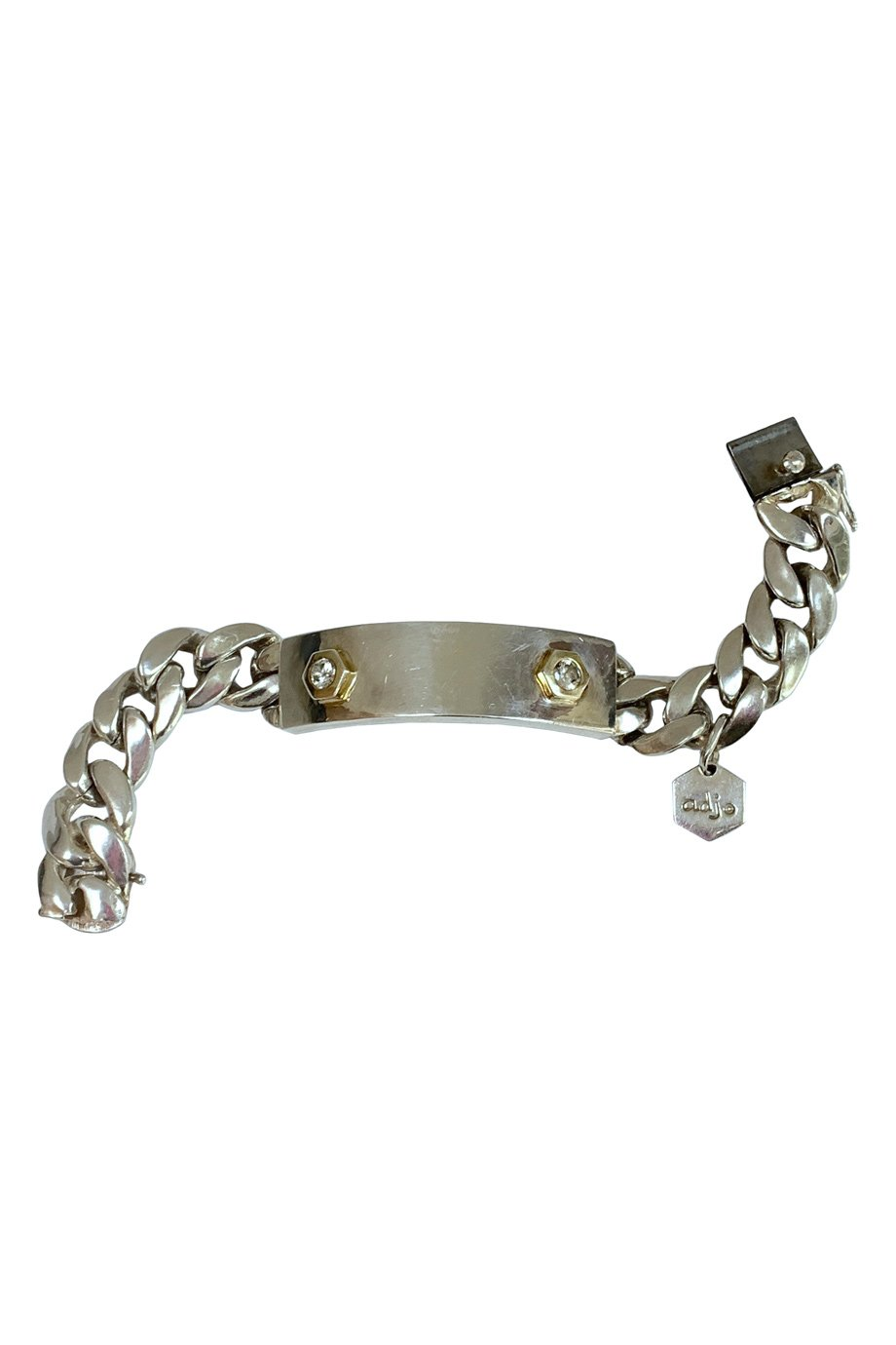 Ann Dexter Jones Sterling Silver + Diamond ID Bracelet
