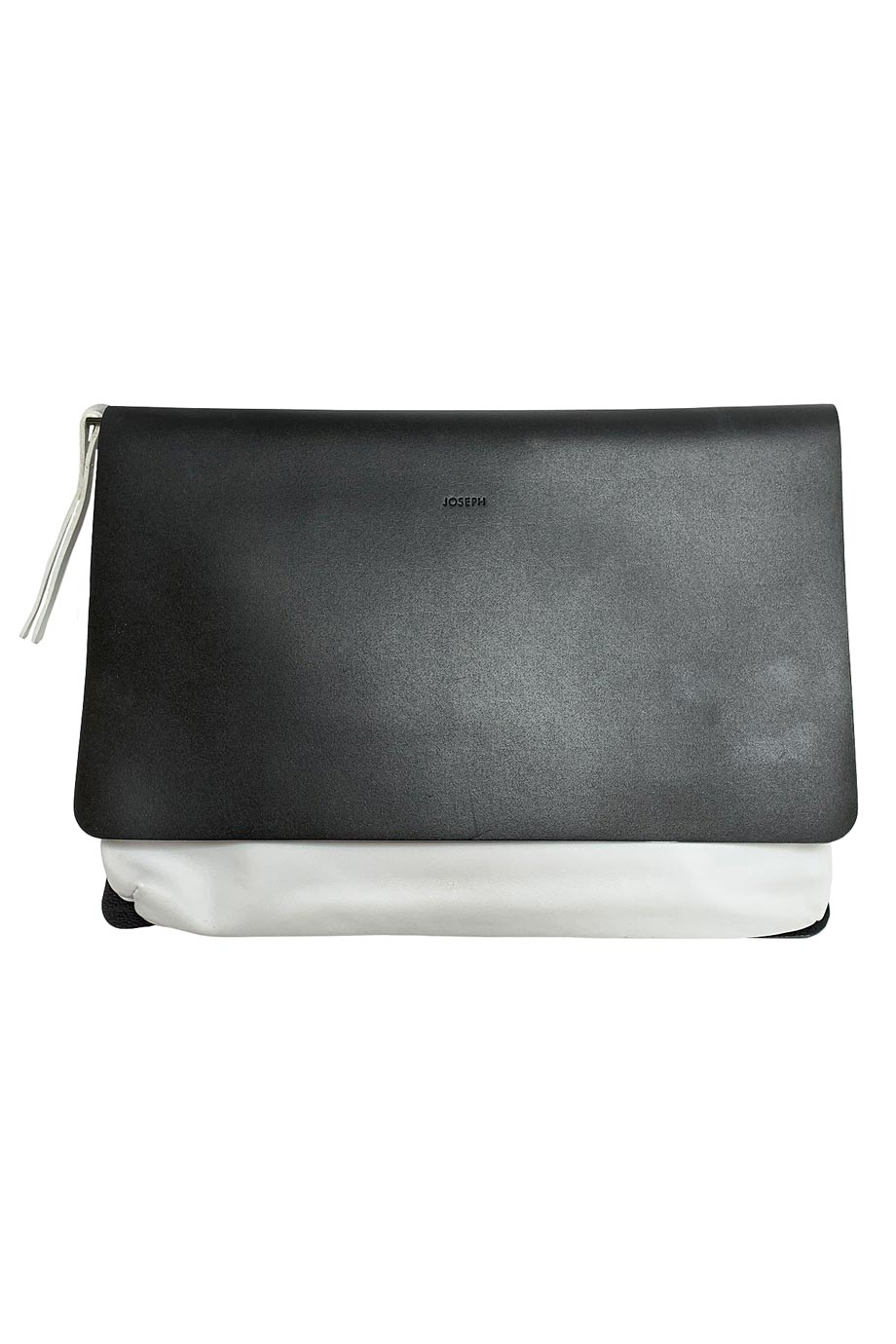 Joseph Minimalist Two-Tone Black + White Leather Clutch Handbag