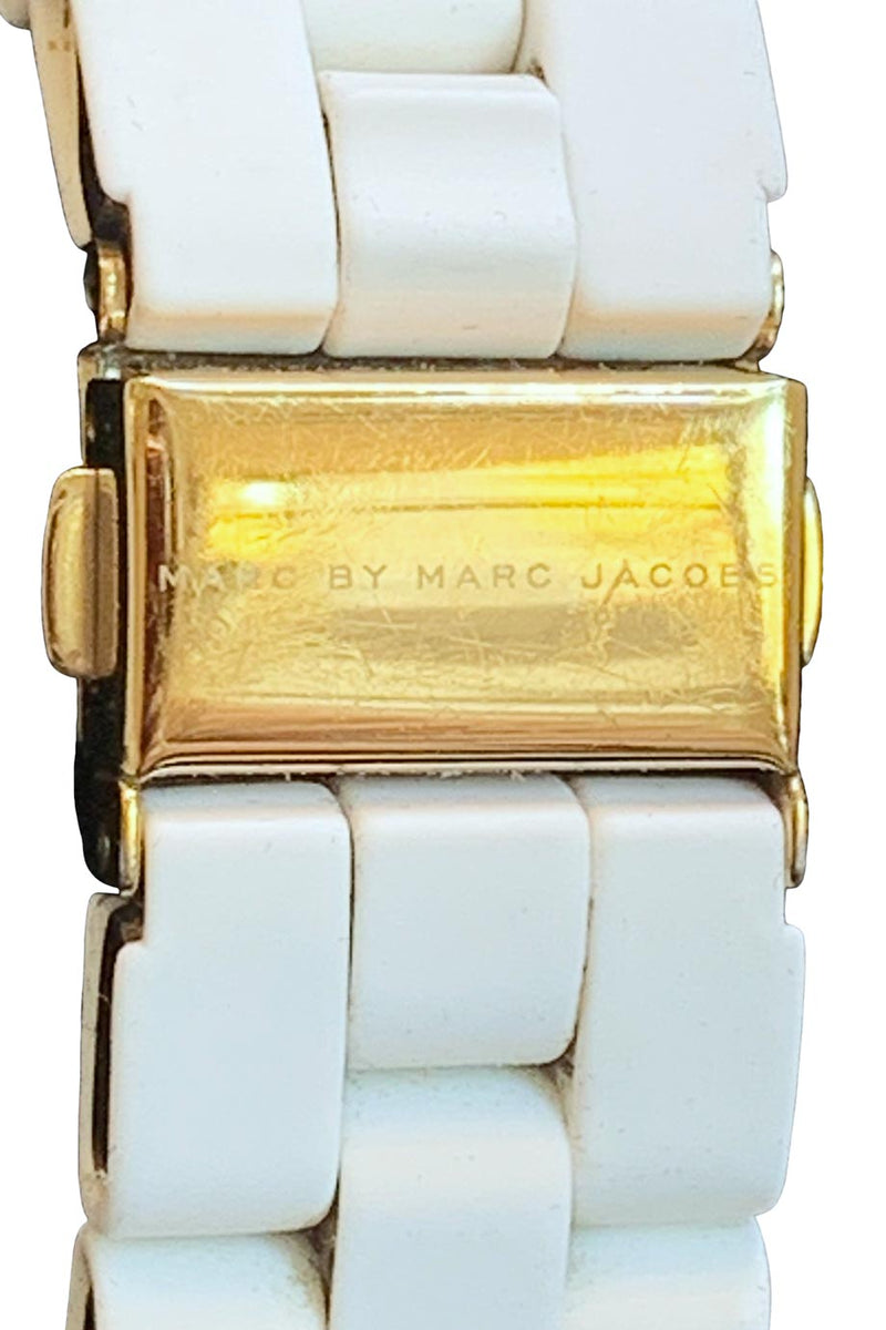 Marc by Marc Jacobs White + Gold Watch With Swarovski Crystals