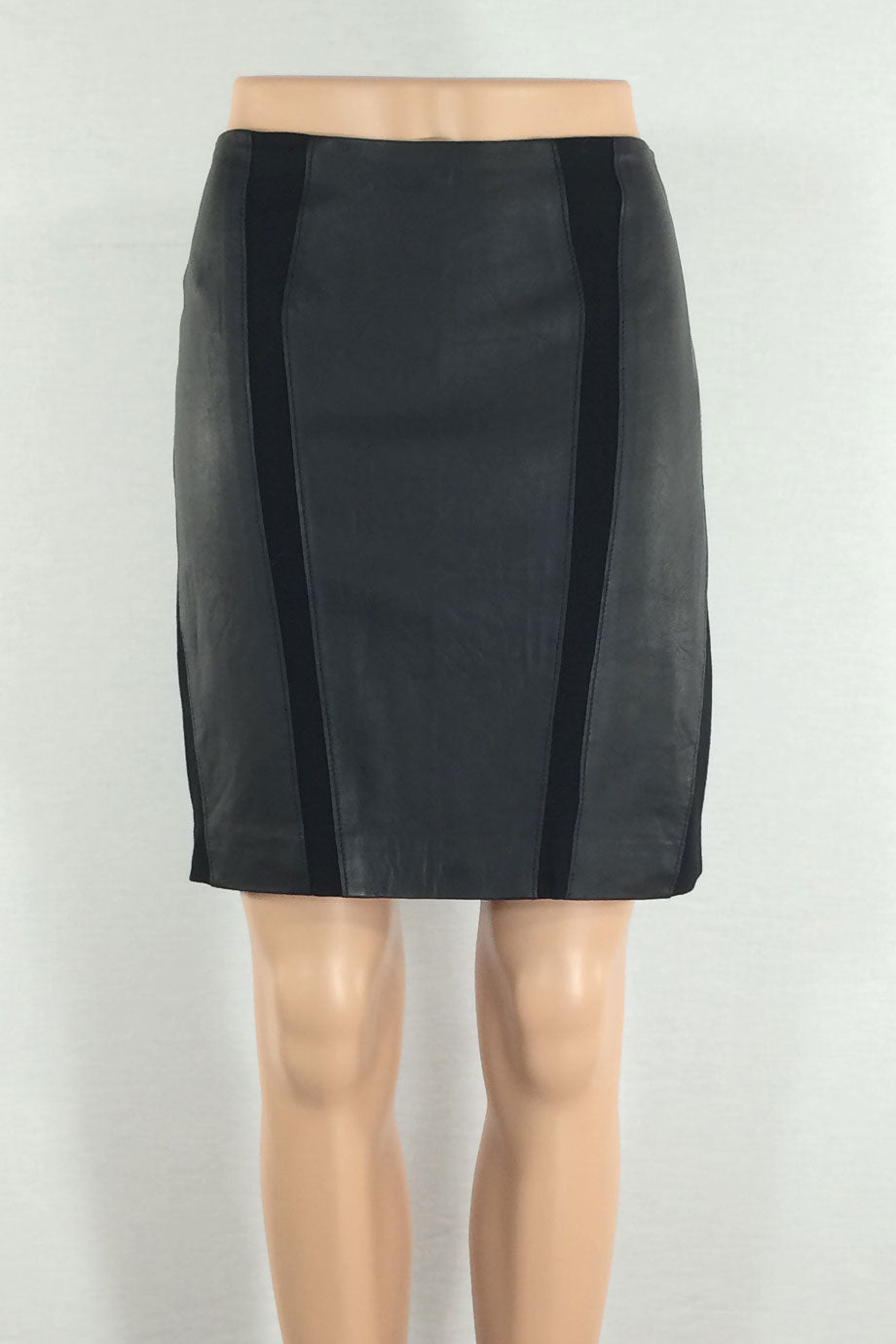 Worth Black Leather + Stretch Jersey Panel Mini Skirt / Sz 0-Style Therapy