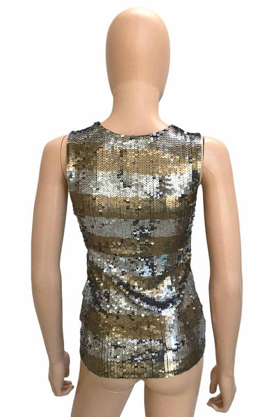 Alice + Olivia Striped Silver & Gold Sequin Tank Top / Sz XS