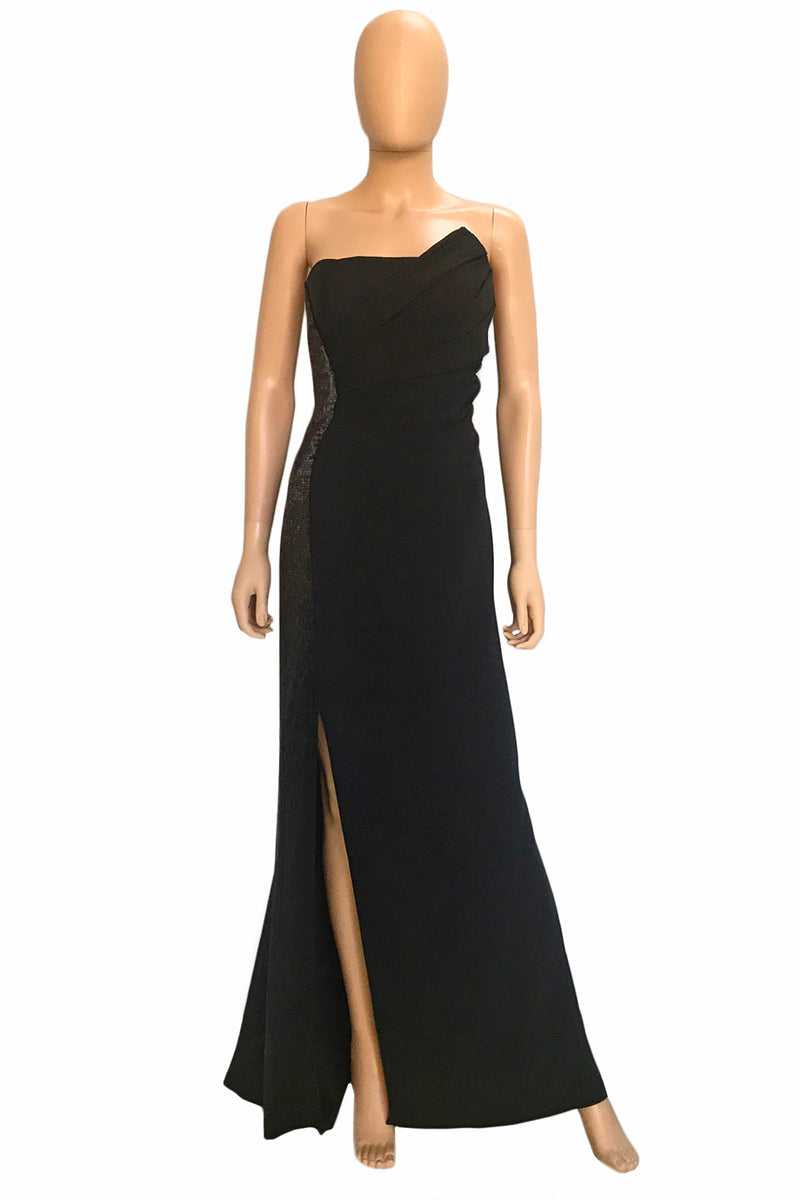 J. Mendel Beaded Black Silk Long Strapless Evening Gown / Sz 4-Style Therapy