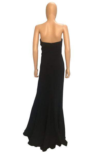 J. Mendel Beaded Black Silk Long Strapless Evening Gown / Sz 4