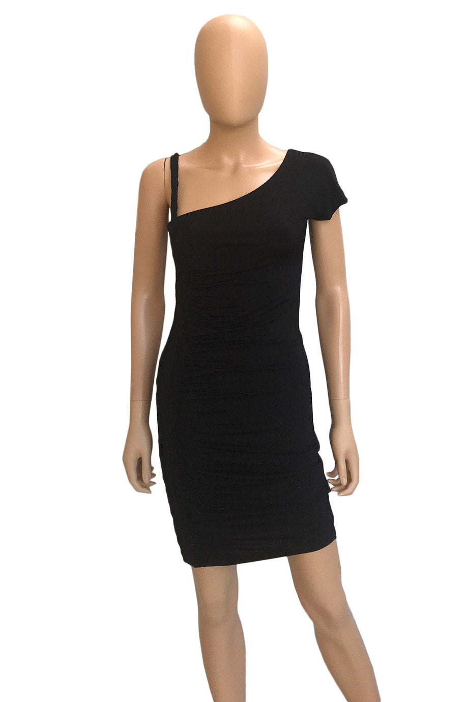 Just Cavalli Black Ruched Satin-Jersey Asymmetric Dress / Sz S-Style Therapy