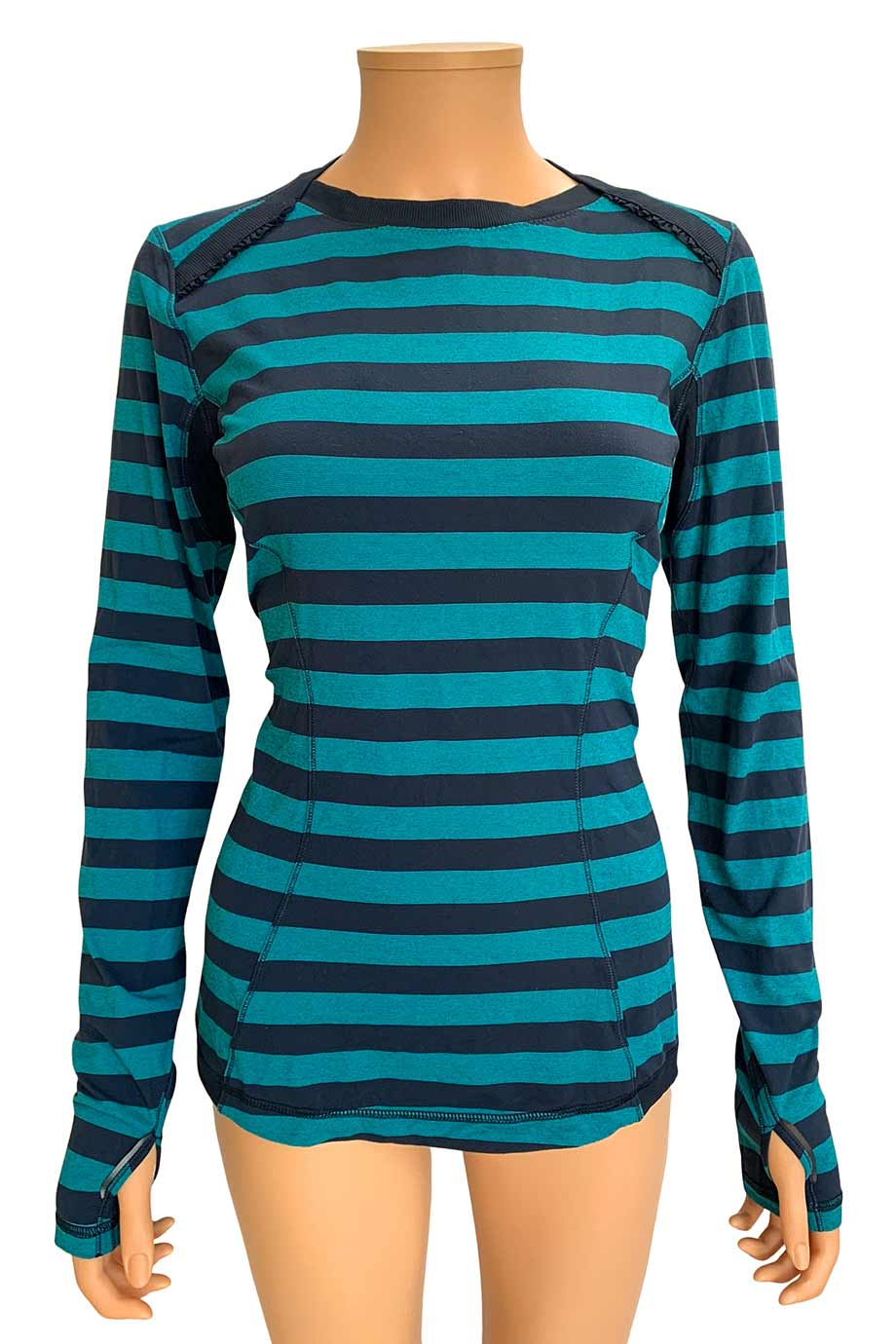 Lululemon Blue Stripe Base Runner Long Sleeve Top / Sz 8