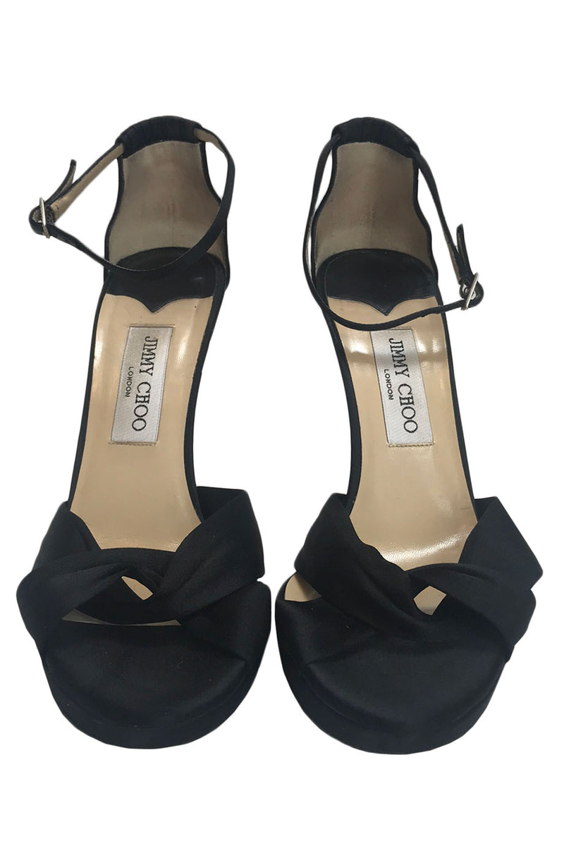 Jimmy Choo Black Satin Macy High Heel Platform Sandals / Sz 40-Style Therapy