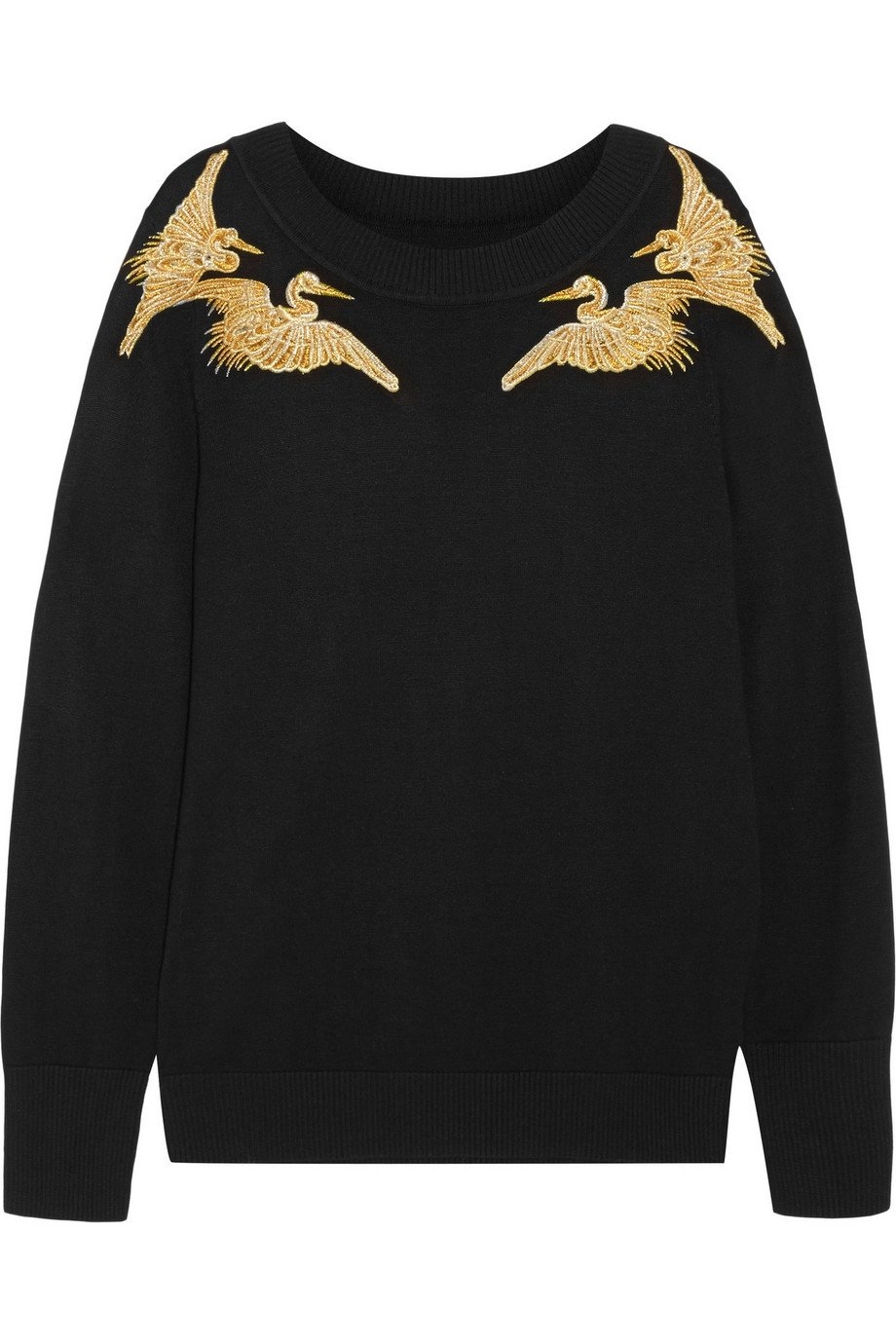 Altuzarra For Target Black Sweater + Gold Embroidered Herons / Sz S