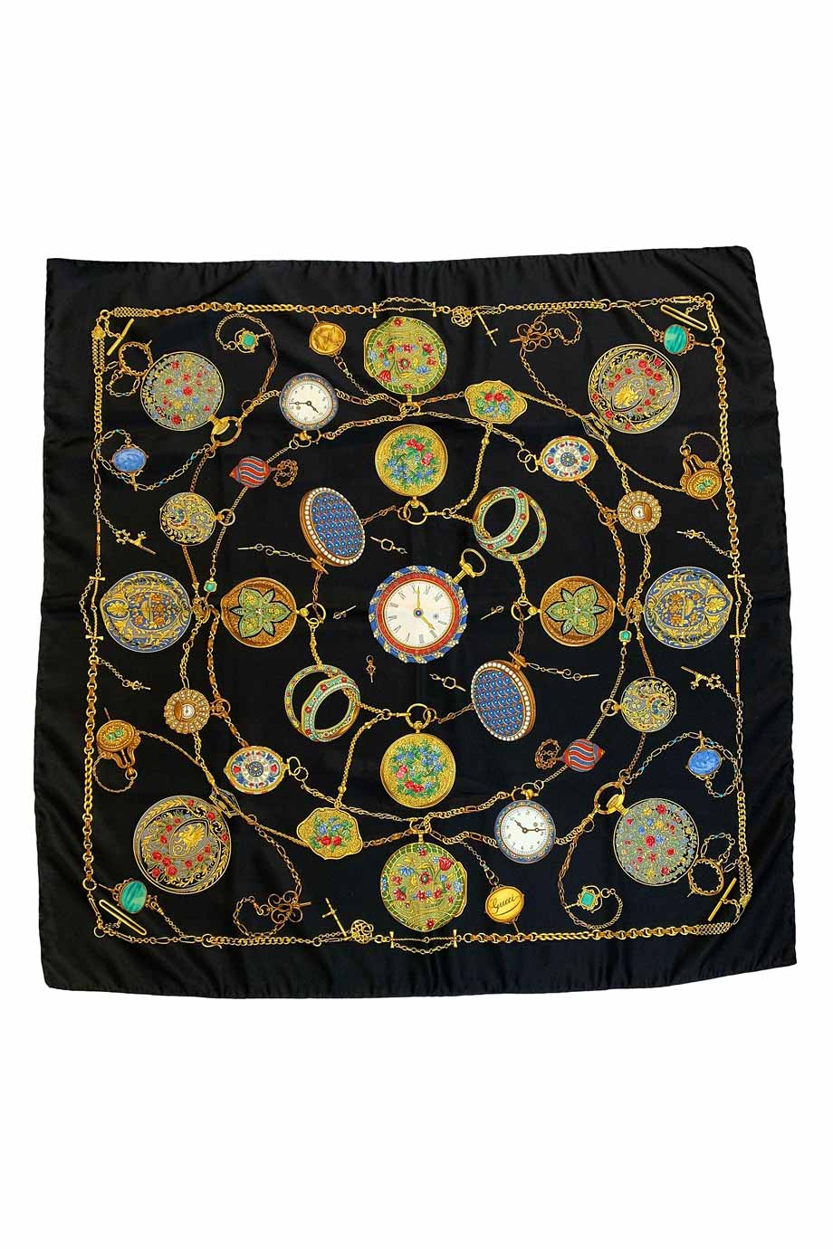 "Gucci 34"" Black Multi Pocket Watch Print Vintage Silk Scarf"