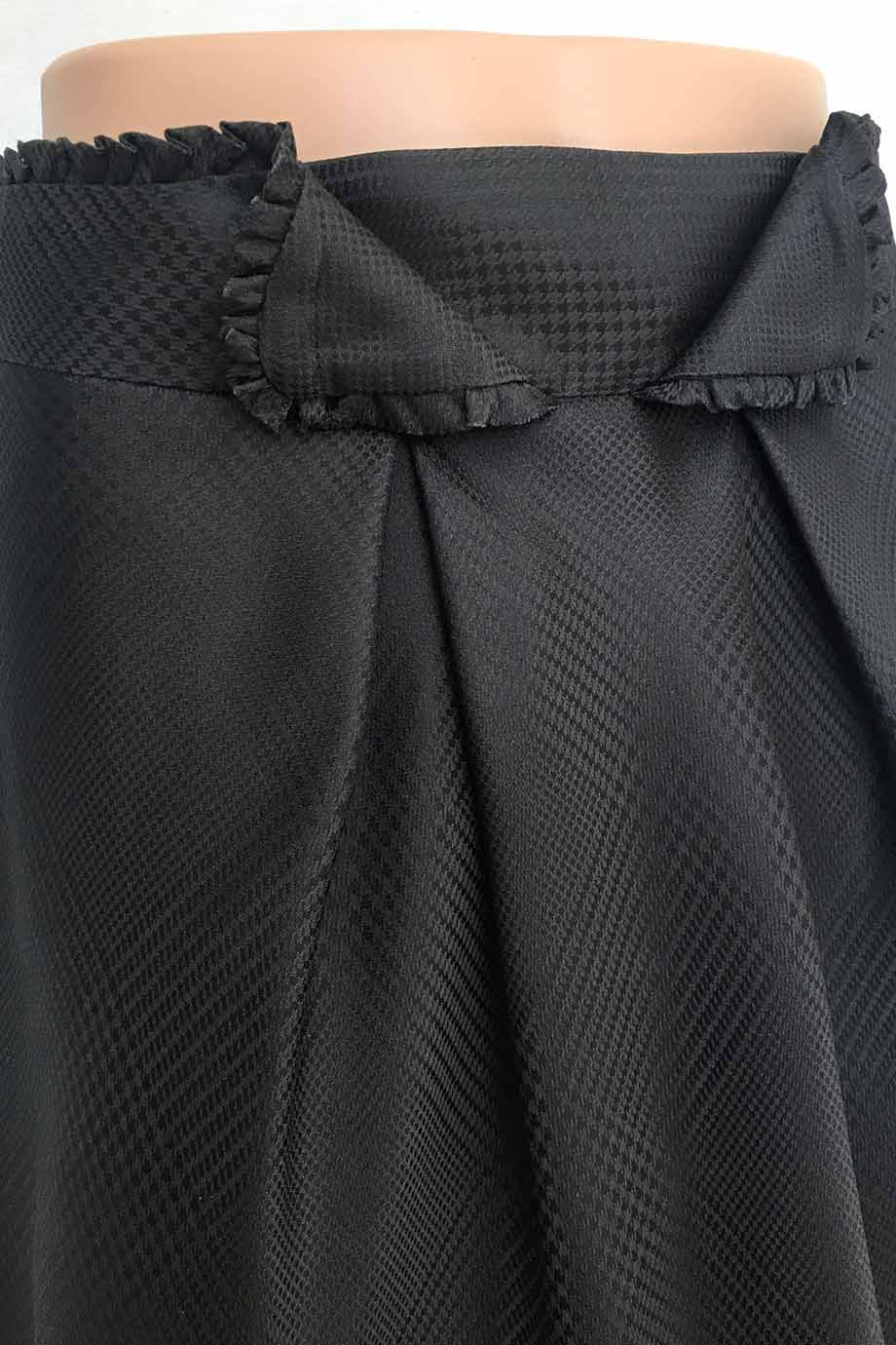 Zac Posen Black Tonal Glen Plaid Silk A-Line Knee Length Skirt / Sz 8-Style Therapy