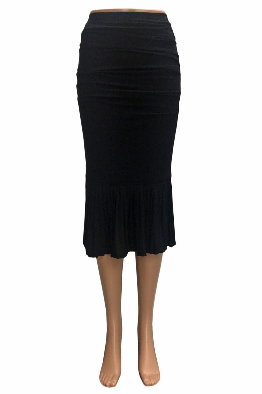 Dolce & Gabbana Black Wool Blend Ruched Midi Skirt / Sz 38-Style Therapy