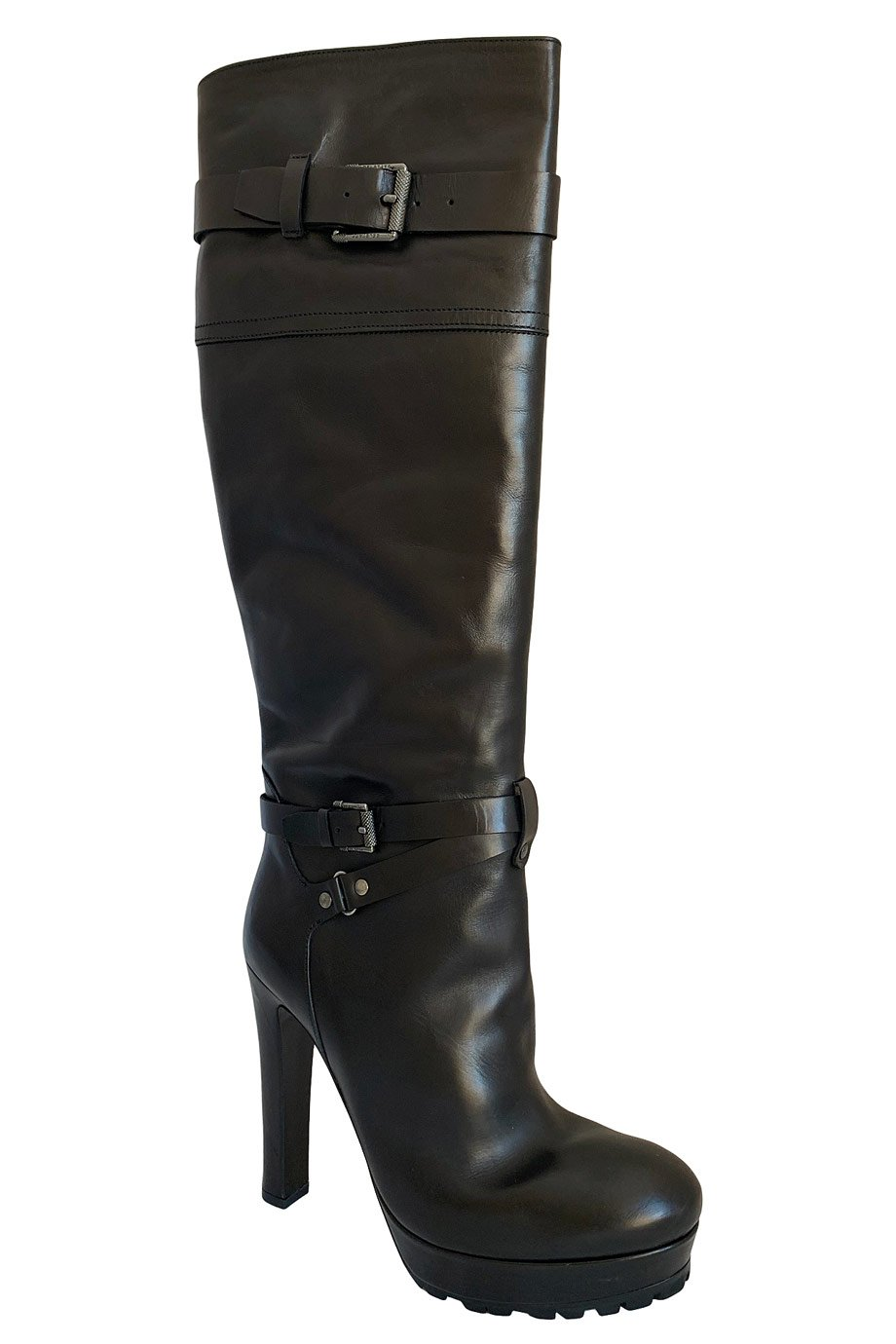 Belstaff Black Leather Barton Platform Knee-High Boots / Sz 39