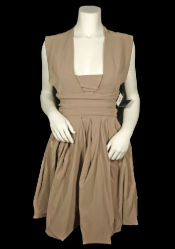 Preen Structured Beige Stretch Twill Audrey Dress / Sz S - Style Therapy  - 2