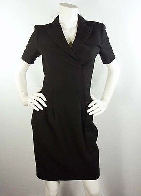Zac Posen Tailored Black Wool-Crepe Faux Wrap Dress / Est Sz 2-4 - Style Therapy  - 2