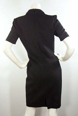 Zac Posen Tailored Black Wool-Crepe Faux Wrap Dress / Est Sz 2-4 - Style Therapy  - 4