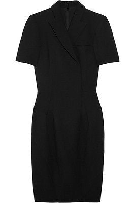 Zac Posen Tailored Black Wool-Crepe Faux Wrap Dress / Est Sz 2-4 - Style Therapy  - 1