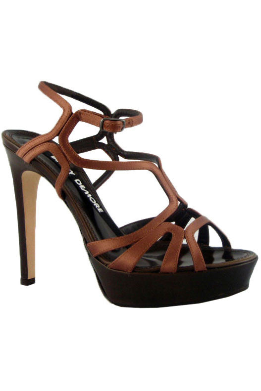 Berny Demore Brown Satin Birdcage Platform Sandals / Sz 36.5 - Style Therapy  - 1