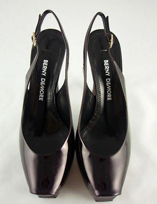 Berny Demore Patent Leather Platform Slingbacks / Sz 36.5 - Style Therapy  - 4